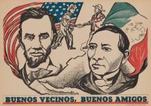 PABLO O'HIGGINS (1904-1983). BUENOS VECINOS, BUENOS AMIGOS. 1944. 18x26 inches, 47x66 cm. Taller de Grafica Popular, [Mexico City.]