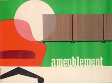 DESIGNER UNKNOWN. AMEUBLEMENT. Circa 1950s. 45x61 inches, 115x155 cm. Avenir Publicite, [Paris.]