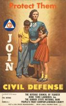 HAROLD STEVENSON (1929- ). PROTECT THEM / JOIN CIVIL DEFENSE. 1951. 21x13 inches, 54x34 cm. L.I.P. & B.A., New York.