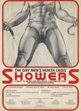 RICHARD WHITE (DATES UNKNOWN). SHOWERS / THE GAY MEN'S HEALTH CRISIS. 1982. 23x17 inches, 59x44 cm.