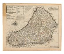MOLL, HERMAN. The Island of Barbadoes Divided into its Parishes, with the Roads, Paths, &c. According to an Actual and Accurate Survey.
