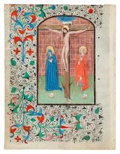 (MANUSCRIPT LEAVES.) Two vellum leaves, one depicting the Crucifixion,
