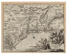 MONTANUS, ARNOLDUS. Novi Belgii Quod nune Novi Jorck vocatur, Novae Angliae & Partis Virginiae Accuratissma et Novissima Delineato.