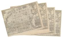 BOWEN, EMANUEL. Four examples of A New Chart of the Vast Atlantic Ocean,