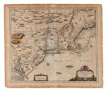 JANSSONIUS, JOHANNES. Belgii Novi. Angliae Novae, et Partis Virginiae Novissima Delineatio.