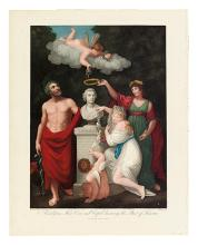 THORNTON, ROBERT JOHN. Aesculapius, Flora, Ceres and Cupid honouring the Bust of Linnaeus.