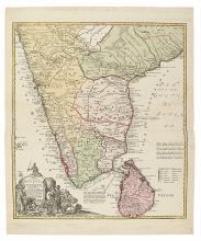 HOMANN HEIRS. Peninsula Indiae citra Gangem hoc est Orae celeberrimae Malabar & Coromandel.