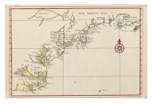 (CURIOSITY.) Janssonius, Johannes (after). Manuscript map copying Nova Belgica et Anglia Nova.