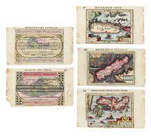 HONDIUS/BERTIUS. Five engraved miniature maps comprising two world maps and three insular Asian maps,