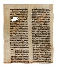 (MANUSCRIPT LEAVES.) Vellum fragment with portion of an unfinished lectionary in Latin.