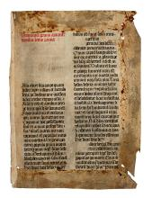 (MANUSCRIPT LEAVES.) Vellum leaf in Latin with first reading for the first Sunday of Advent,