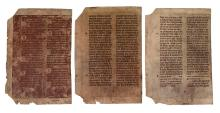 (MANUSCRIPT LEAVES.) Three vellum leaves from a French Missale Romanum,