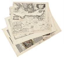 (MISCELLANEOUS MAPS.) Three engraved maps of European subjects and a leaf from the Nuremberg Chronicle.