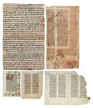 (MANUSCRIPT LEAVES.) Twelve manuscript leaves on vellum,