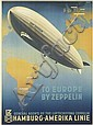 OTTOMAR ANTON (1895-1976). TO EUROPE BY ZEPPELIN. 1936. 32x23 inches, 81x59 cm. [Muhlmeister & Johler, Hamburg.], Ottomar Anton, Click for value