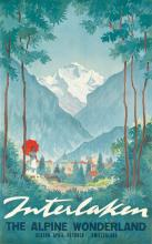 ALEX WALTER DIGGELMANN (1902-1987). INTERLAKEN / THE ALPINE WONDERLAND. Circa 1935. 40x25 inches, 101x63 cm. J.C. Müller, Zurich.