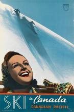 DESIGNER UNKNOWN. SKI IN CANADA / CANADIAN PACIFIC. Circa 1935. 36x24 inches, 91x61 cm. Exhibits Branch C.P.R., Canada.