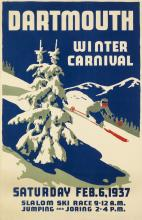 TED HUNTER (DATES UNKNOWN). DARTMOUTH WINTER CARNIVAL. 1937. 34x22 inches, 86x56 cm.