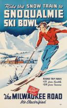 DESIGNER UNKNOWN. RIDE THE SNOW TRAIN TO SNOQUALMIE SKI BOWL. 1938. 34x21 inches, 86x54 cm.