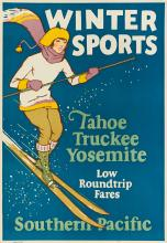 DESIGNER UNKNOWN. WINTER SPORTS / SOUTHERN PACIFIC. 1926. 23x16 inches, 59x40 cm.