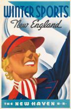 SASCHA MAURER (1897-1961). WINTER SPORTS / NEW ENGLAND / THE NEW HAVEN R•R• 1937. 42x28 inches, 107 cm. [McCandlish Litho. Corp., Phila