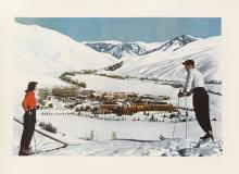 DESIGNER UNKNOWN. SUN VALLEY, IDAHO / UNION PACIFIC RAILROAD. Circa 1940. 26x36 inches, 66x91 cm.