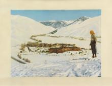 DESIGNER UNKNOWN. SUN VALLEY / UNION PACIFIC RAILROAD. Circa 1940. 26x34 inches, 66x86 cm.