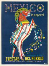 DESIGNER UNKNOWN. MEXICO / FIESTAS DEL PUEBLO. 1959. 16x12 inches, 42x32 cm. Eco Publicastas.
