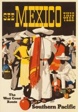 MAURICE LOGAN (1886-1977). SEE MEXICO THIS YEAR / SOUTHERN PACIFIC. 1932. 23x15 inches, 58x38 cm.