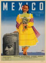 GERMAN HORACIO (1912-1972). MEXICO WELCOMES YOU. 1953. 35x27 inches, 90x70 cm. S. Turanzas del Valle, Talleres.
