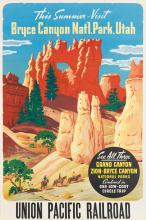 DESIGNER UNKNOWN. BRYCE CANYON NAT'L PARK, UTAH / UNION PACIFIC RAILROAD. Circa 1935. 41x27 inches, 104x68 cm.
