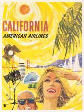 BOYLE (DATES UNKNOWN). CALIFORNIA / AMERICAN AIRLINES. Circa 1960. 39x30 inches, 75x77 cm.