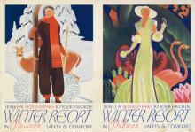 WILLIAM WELSH (1889-1984). WINTER RESORT IN PULLMAN. Circa 1935. 10x15 inches, 26x39 cm.