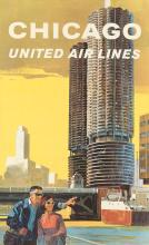 TOM HOYNE (DATES UNKNOWN). CHICAGO / UNITED AIR LINES. 40x25 inches, 101x63 cm.