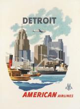 BERN HILL (1911-1977). DETROIT / AMERICAN AIRLINES. Circa 1950s. 40x30 inches, 101x76 cm.