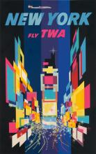 DAVID KLEIN (1918-2005). NEW YORK / FLY TWA. 1956. 39x24 inches, 102x63 cm.