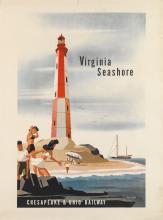 BERN HILL (1911-1977). VIRGINIA SEASHORE / CHESAPEAKE & OHIO RAILWAY. Circa 1950. 37x27 inches, 95x70 cm.
