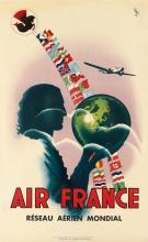 VINCI (DATES UNKNOWN). AIR FRANCE / RÉSEAU AÉRIEN MONDIAL. 1937. 39x24 inches, 99x61 cm. Alépée & Co., Paris.