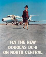 DESIGNER UNKNOWN. FLY THE NEW DOUGLAS DC - 9 ON NORTH CENTRAL. 28x22 inches, 71x56 cm.