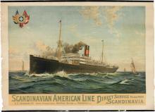 DESIGNER UNKNOWN. SCANDINAVIAN AMERICAN LINE. Circa 1905. 41x28 inches, 104x73 cm. Chr. Catos Litho, Copenhagen.