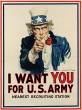 JAMES MONTGOMERY FLAGG (1870-1960). I WANT YOU FOR U.S. ARMY. 1917. 40x29 inches, 101x75 cm. Leslie-Judge Co., New York.