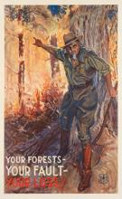 JAMES MONTGOMERY FLAGG (1870-1960). YOUR FORESTS - YOUR FAULT - YOUR LOSS! Circa 1937. 38x24 inches, 98x61 cm. Forestry Service, US Dep