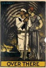 ALBERT STERNER (1863-1946). OVER THERE / U•S• NAVY. 1917. 59x39 inches, 150x102 cm. American Lithographic Co., New York.