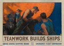WILLIAM DODGE STEVENS (1870-1942). TEAMWORK BUILDS SHIPS. Circa 1918. 37x50 inches, 94x127 cm. Forbes, Boston.
