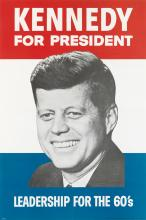 DESIGNER UNKNOWN. KENNEDY FOR PRESIDENT. 1960. 45x32 inches, 115x81 cm. Amalgamated Lithographers of America, Chicago.