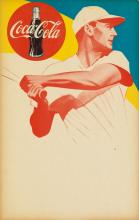 DESIGNER UNKNOWN. COCA - COLA / [TED WILLIAMS.] Circa 1950. 21x13 inches, 54x34 cm.