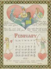 M. HOWELLS (DATES UNKNOWN). [CARD PLAYING ILLUSTRATIONS]. Group of 12 calendar pages. 1901. Each approximately 13x9 inches, 33x24 cm. N