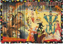 FLORIT (DATES UNKNOWN). CIRQUE ANCILLOTTI / LES PLUS GRANDES ATTRACTIONS MODERNES. Circa 1930s. 89x60 inches, 227x153 cm. Jombart Fres.