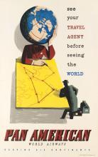 JAN LEWITT (1907-1991) & GEORGE HIM (1900-1981). PAN AMERICAN / WORLD AIRWAYS. 1951. 37x24 inches, 94x61 cm. W.R. Royle & Son, Ltd.
