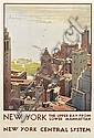 LESLIE RAGAN (1897-1972). NEW YORK / THE UPPER BAY FROM LOWER MANHATTAN. 1935. 40x27 inches, 103x68 cm. [Latham Litho Co., Long Island, Leslie Darrell Ragan, Click for value